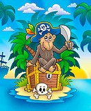 Pirate monkey on treasure island _ color illustration.