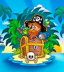 Small island with pirate and chest _ color illustration.