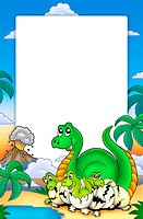 Frame with little dinosaurs _ color illustration.