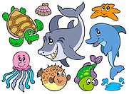 Happy sea animals collection _ isolated illustration.