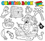 Coloring book with pirates 1 _ isolated illustration.