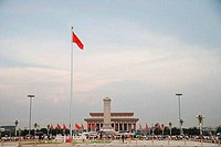 Low angle view of a monument in front of a building, Tiananmen Square, Beijing, China