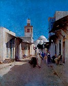View Of Rue El _ Alfahouine 1889 Charvot, Eugene1847_1924 French Oil On Canvas Cummer Museum of Art & Gardens, Jacksonville, FL