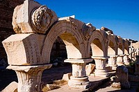 Arcade of an ancient building, Severan Forum, Leptis Magna, Libya