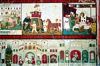 India, Karnataka, Srirangapatna, murals in summer palace, 18th century