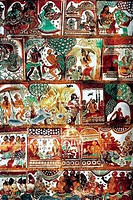 India, Tamil Nadu, Chidambaram, Nataraja temple, murals on Sabha mendap Assembly Hall, 17th century