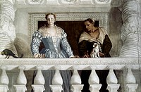 VERONESE: WOMEN.The Wife of Marcantonio Guistiniani-Barbaro and her Governess by Paolo Veronese. 18th century.