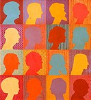 Checkerboard People 1984 John Newcomb b.20th C. American Casein