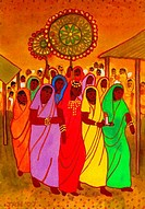 Indian Bridal Procession 2007 John Newcomb b.20th C. American Watercolor Private Collection