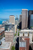 High angle view of buildings in a city, Seattle, King County, Washington State, USA