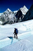 High angle view of a person hiking on snow, Khumbu Glacier, Mount Everest, Nepal