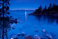 Reflection of moon in a lake, Secret Cove, Lake Tahoe, California, USA