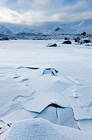 Frozen landscape of Rannoch Moor in winter, Scotland