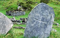 Celtic monastic island of Eileach an Naiomh, the Garvellachs, Inner Hebrides, Scotland  Grave of Eithne, mother of St  Columba