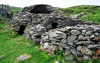 Celtic monastic island of Eileach an Naiomh, the Garvellachs, Inner Hebrides, Scotland  Monks stone beehive huts village houses