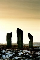 Callanish prehistoric stone circle  Island of Lewis, Outer Hebrides, Scotland  Three of the 5000 year old alignment megaliths