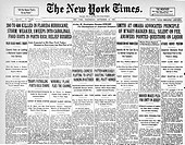 WEATHER: HURRICANES.The front page of The New York Times of Sept. 19, 1928, three days after a hurricane made landfall in Palm Beach, Florida.