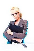 business woman at work blonde hair with the glasses