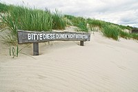 German sign warning to keep of dunes, Juist, Germany