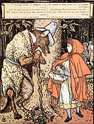 LITTLE RED RIDING HOOD.Illustration by Walter Crane, 1875.