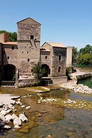 A XIIIth (13th) Century wheat mill-the Moulin a Bled-used the water of the Thongue River, St. Thibery, France (Herault)