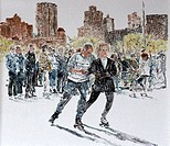 Central Park, Roller Skating, 1992, Anthony Butera, b.20th C., Monotype