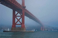 Suspension bridge across a bay, Golden Gate Bridge, San Francisco, California, USA