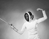 Young woman fencing