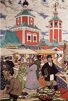 At The Fair 1913 Boris Mihajlovic Kustodiev 1878_1927 Russian Oil On Canvas Museum of Art, Nizhni Novgorod, Russia
