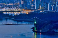 Bridge over the sea, Lions Gate Bridge, Burrard Inlet, Stanley Park, Vancouver, British Columbia, Canada