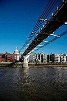 Bridge across a river with cathedral in the background, Millennium Bridge, Thames River, St. Paul´s Cathedral, City of London, London, England