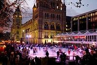 Ice skating rink at the Natural History Museum, South Kensington, London, UK