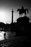 UK, London, Trafalgar Square, Statue of King George IV and Nelson´s Column
