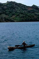Panama, Portobelo, Local Man In Canoe
