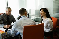 Businessman meeting with clients