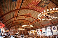 Interiors of a festival hall, Hofbrauhaus, Munich, Bavaria, Germany
