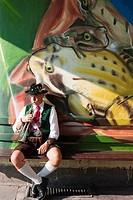 Musician playing a trumpet, Munich, Bavaria, Germany