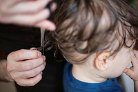 Toddler getting a haircut, cropped
