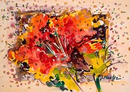 Festive Hibiscus by John Bunker, watercolor on board, 1998
