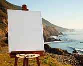 Artist Easel and Canvas on Bluff