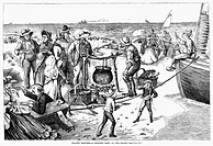 CHOWDER PARTY, 1873.A chowder party on Fire Island, New York. Wood engraving, American, 1873.