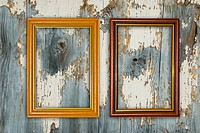 Gold frame on a old wooden wall background.
