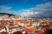 A view at the marina and an old coastal town on a sunny day, Lisbon, Portugal