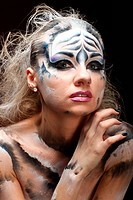 White tiger _ beautiful model with bodypainting