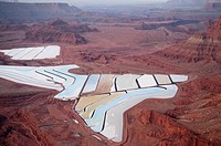 Colorado River water used in Potash mine settling ponds near Moab, UT.