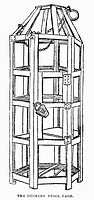 DUCKING STOOL CAGE.Medieval ducking stool cage. 19th century wood engraving.