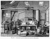 FRANCE: FOOD LABORATORY.Laboratory for studying food preservation. Line engraving, 1876.