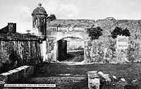 PANAMA: PORTOBELLO, c1910Ruins of one of the Spanish forts at Portobello, near Colon on the Atlantic Coast. Postcard, c1910.