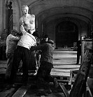 LOUVRE: VENUS DE MILO.The Venus de Milo being moved up a ramp by workmen at the Louvre Museum in Paris, France, as a precaution following the outbreak...