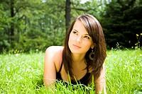 Relaxing Girl On Meadow
